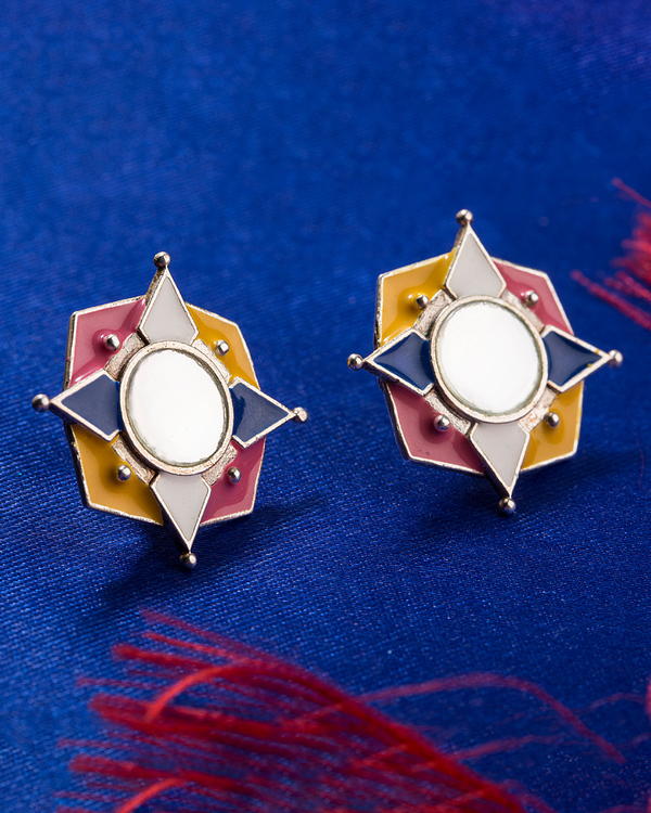 plating silver painting in box free earrings shipping random colourful from item wholesale lot stud designs alloy oil mixed