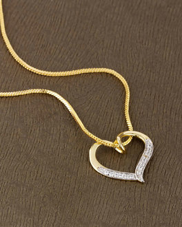 Buy cz pendants silver gold plated pearl solitaire pendant for lovely cz studded heart pendant with chain aloadofball Image collections